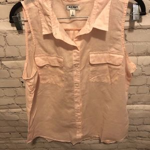 Old Navy pink Large button down sleeveless top